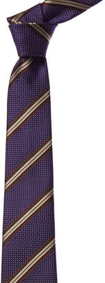 Canali Purple & Brown Stripe Silk Tie