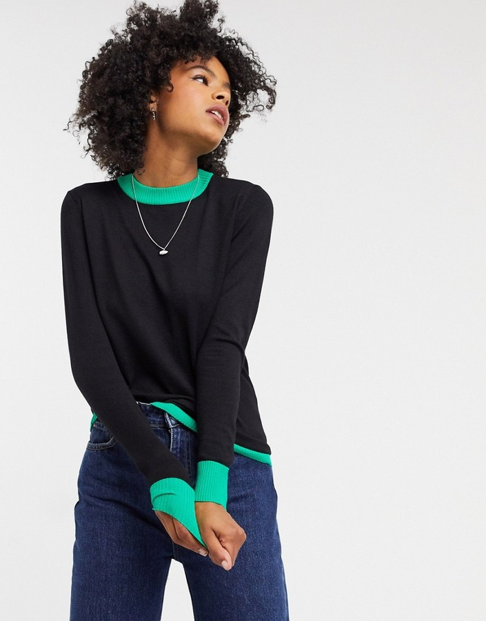 Gianni Feraud Giannia Feraud contrast crew neck sweater in black and green
