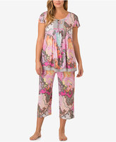 Ellen Tracy Plus Size Printed Flutter-Sleeve Pajama Top