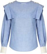 Chloé Sailor-collar cotton-chambray blouse