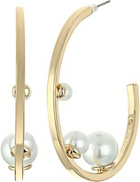 Rebecca Minkoff Three Pearl Hoop Earrings