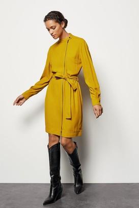 Karen Millen Zip-Front Belted Dress