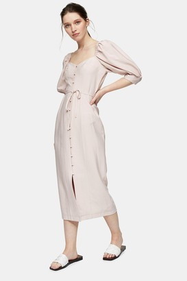 Topshop Blush Pink Linen Blend Puff Sleeve Midi Dress