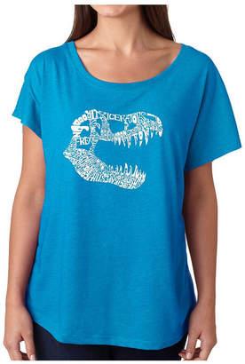 La Pop Art Women Dolman Cut Word Art Shirt - Trex