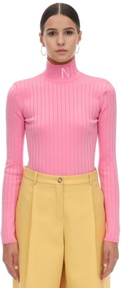 Nina Ricci Viscose Rib Knit Turtleneck W/ Logo