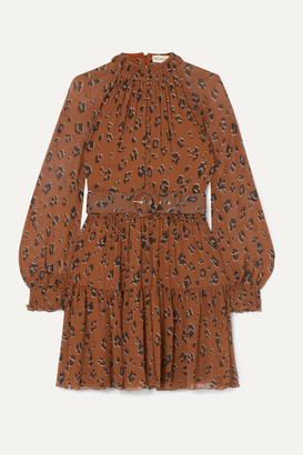 Nicholas Belted Ruffled Leopard-print Silk-chiffon Mini Dress - Brown