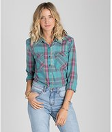 Billabong Juniors Flannel Frenzy Plaid Shirt with Front Pockets