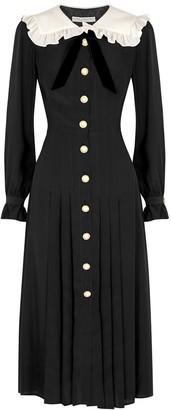 Alessandra Rich Black embellished silk midi dress