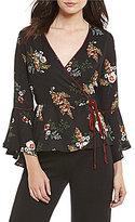 June & Hudson Floral Printed Bell Sleeve Wrap Top
