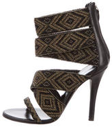 Balmain Bead-Embellished Multistrap Sandals