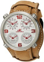 Adee Kaye Men's Quartz Stainless Steel and Leather Dress Watch, Color:Beige (Model: AK2275-MSV/ TAN-Wide)