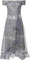 Nicole Miller printed off shoulder dress - women - Spandex/Elastane/Rayon - 2