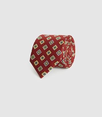 Reiss Delph - Diamond Patterned Tie in Rust