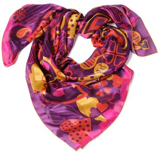 Paisley & Heart Silk Chiffon Large Square Scarf - Romantic Purple
