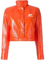 Courreges vinyl cropped jacket - women - Cotton/Polyurethane/Cupro - 42