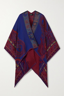 Etro Wool-blend Jacquard Wrap - Blue