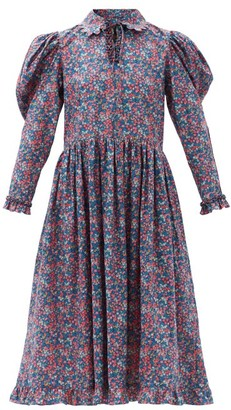 Horror Vacui Coco Floral-print Cotton-poplin Midi Dress - Blue Multi