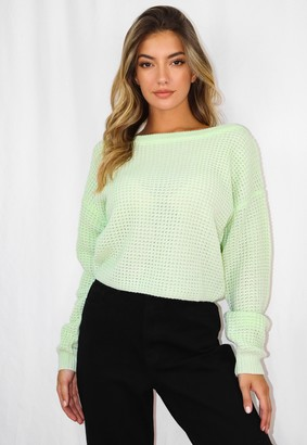 Missguided Mint Off The Shoulder Knitted Jumper