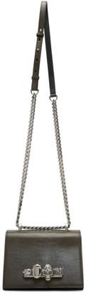 Alexander McQueen Khaki Small Lizard Jewelled Satchel Bag
