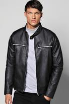 Boohoo Collarless Pu Biker Jacket