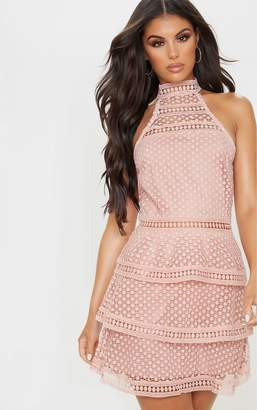 PrettyLittleThing Dusty Pink Lace Panel Tiered Bodycon Dress