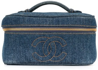 Chanel Pre-Owned 1997 denim CC cosmetics case