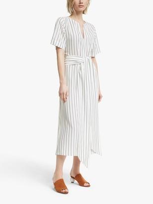 Mother of Pearl Tencel Tie Waist Stripe Dress, Ivory/Navy