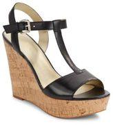 Saks Fifth Avenue Deville Leather Cork Wedge Sandals