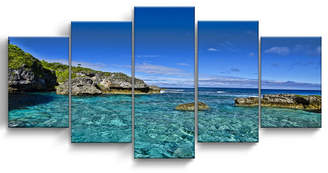 "Ready2HangArt Grunge Pano Ii 5 Piece Wrapped Canvas Coastal Wall Art Set, 30"" x 60"""