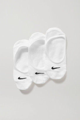 Nike Everyday Lightweight Footie Set Of Three Cotton-blend Socks - White
