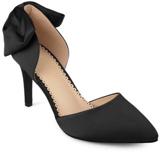 Brinley Co. Womens Satin D'orsay Pointed Toe Bow Pumps