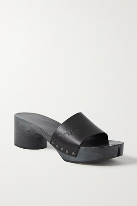 Maison Margiela Split-toe Logo-debossed Leather Platform Mules - Black