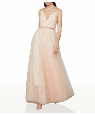 BCBGMAXAZRIA Women's Tulle Dress with Beaded Trim