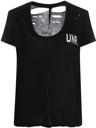 Unravel Project distressed logo print T-shirt