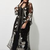 River Island Womens Plus Black mesh embellished kimono