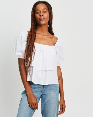 Calli - Women's White Short Sleeve Tops - Lala Top - Size 6 at The Iconic