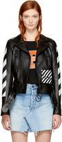 Off-White Black Leather woman Diagonal Biker Jacket