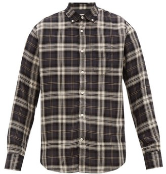 Officine Generale Button-down Checked-twill Shirt - Mens - Grey White