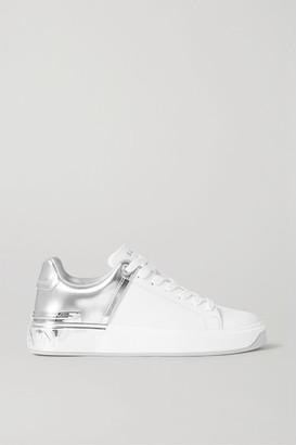 Balmain B-court Matte And Metallic Leather Sneakers - White