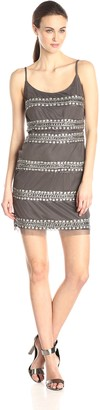 Adrianna Papell Women's Sleeveless Beaded Blouson Cocktail Dress with Striped Beading
