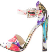 Brian Atwood Satin Floral Sandals
