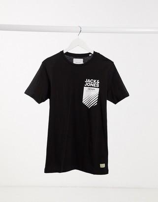 Jack and Jones pocket logo T-shirt in black