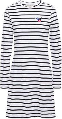 Être Cécile Appliqued Striped Cotton-jersey Mini Dress
