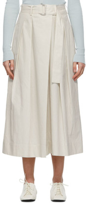 Lemaire White and Grey Asymmetrical Bermuda Shorts