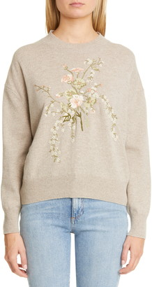 Brock Collection Floral Embroidery Wool & Cashmere Sweater