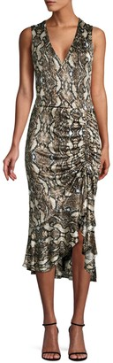 Parker Python Print Ruffled Midi Dress