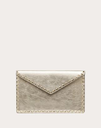 Valentino Large Rockstud Envelope Pouch In Metallic Calfskin Women Sahara Calfskin 100% OneSize