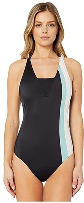 Roxy Fitness One?Piece Swimsuit (Anthracite) Women's Swimsuits One Piece