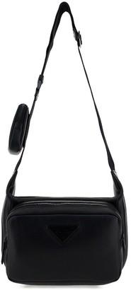 Prada Triangle Logo Embellished Shoulder Bag