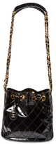 Chanel Vintage Black Quilted Patent Leather Chain Bucket